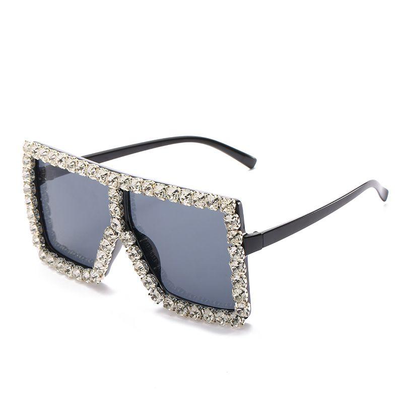 2020 11 Sunglasses Frame Frame Personality Sunglasses Diamond-Studded Cool Cool Glasses Big Big For Women New Colors Frvqk