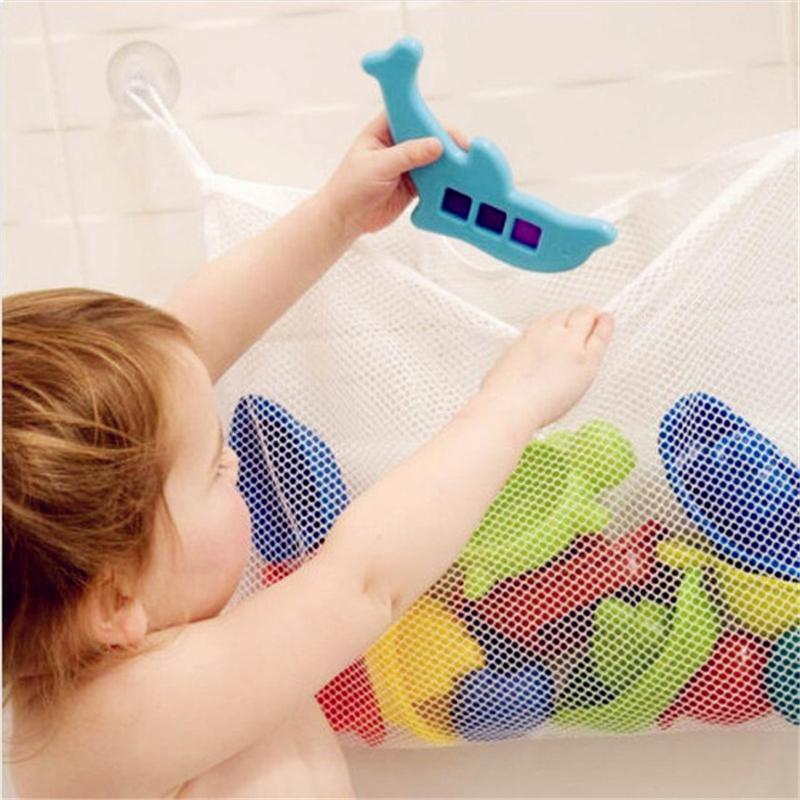 حمام اللعب التخزين المصاص منظم شفط كأس الحمام لعبة سلال المعلقة شبكة حقيبة للعرض طفل