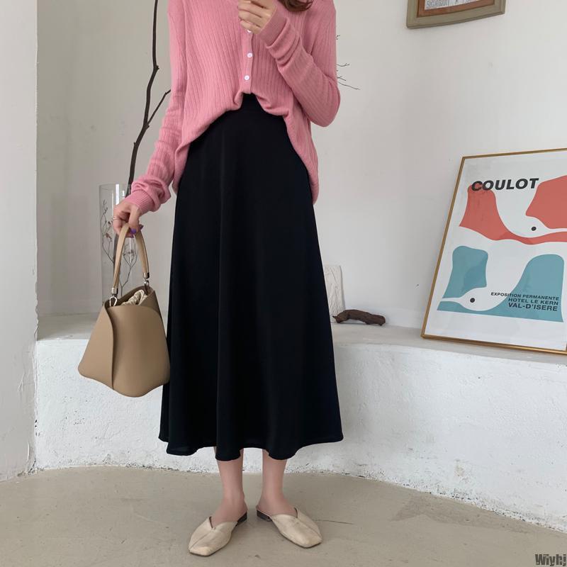 Лето Элегантной мода партия новых женщин Юбки Женской шрифт Офис юбка сплошного цвет высокая талия