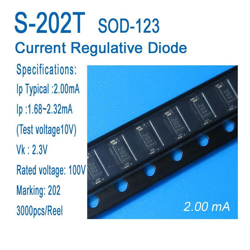 Постоянный ток диода, ток диода регулятивная, CRD, S-202T, СОД-123, СМД, типичным 2.00ma, применяется для датчиков, приборов