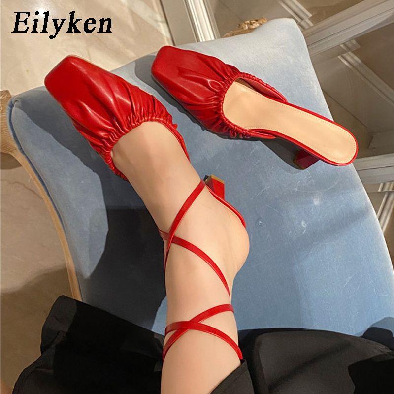 Eilyken Летний Новый дизайн Мода Плиссированные Кожа PU обувь Женщины площади Тапочки Sexy Toe сандалии партии шпильках насосы