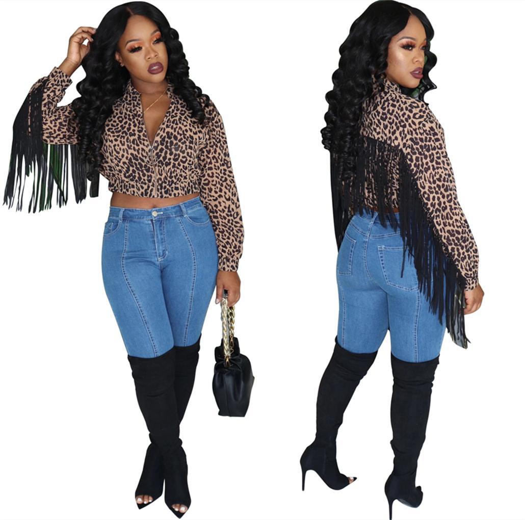 Tsuretobe leopardo Otoño de impresión de la borla de la chaqueta de las mujeres atractivas de la manera manga larga chaqueta de la cremallera de la cosecha de invierno corto ocasional Outwear Mujer CX200728