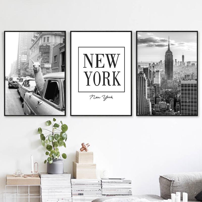 Llama in un taxi su Times Square Stampa su tela e poster d'epoca Llama Stampa New York Photo Picture Wall Art Home Decor