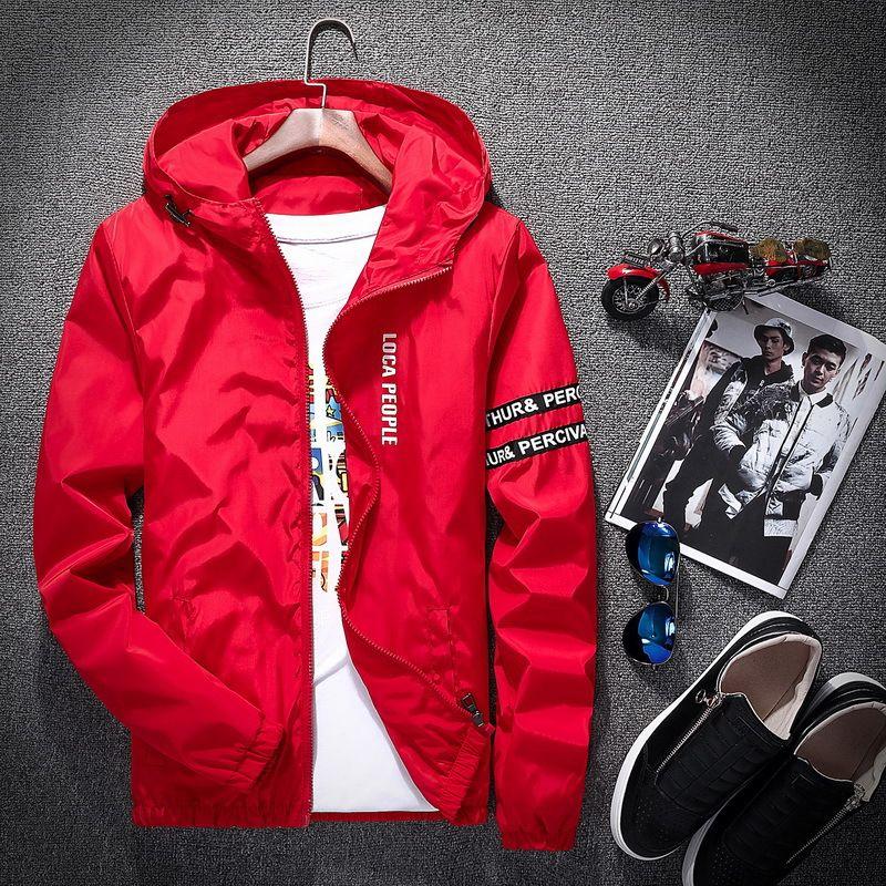 Мужские куртки 2021 весна осень мода тонкий подходит молодой мужской куртку с капюшоном тонкий бренд повседневная ветровка высшего качества