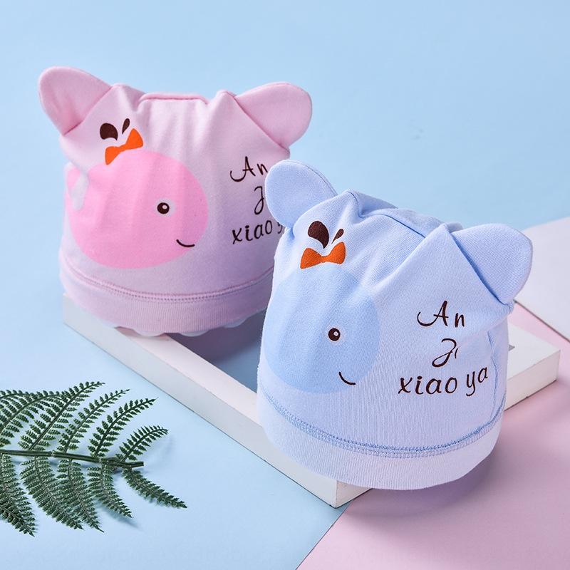 7PNli primavera y el otoño de los neumáticos recién nacido 0-marzo de sombrero infantil del bebé puro protección femenina y algodón protector del casquillo del bebé recién nacido de sexo masculino casquillo hal GzLTA