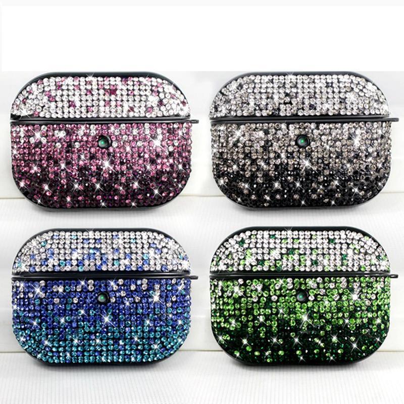 Für airpods 1 2 3 pro Fallabdeckung Luxus Glitter Pulver Strass Bling Bling Schutz Kopfhörer harte Fall Mode
