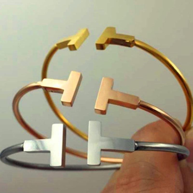 T T женщин Нержавеющая сталь Браслет с двойной T Открытый браслет Шарм Браслеты Браслеты Женщины ювелирные изделия