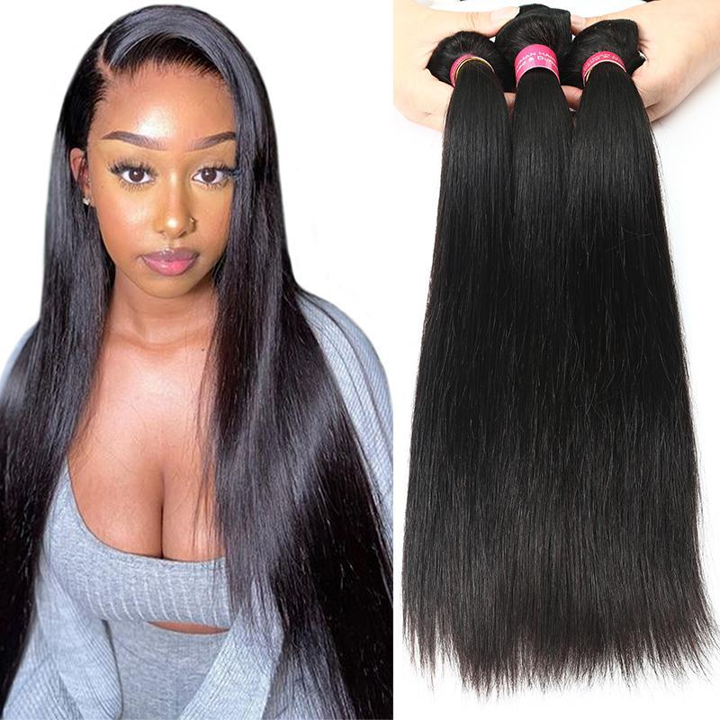 4 Bundle Unproceesed brasiliano vergine diritta dei capelli a buon mercato capelli umani brasiliani tessuto Bundles 8A brasiliana diritta Bundles Natural Color