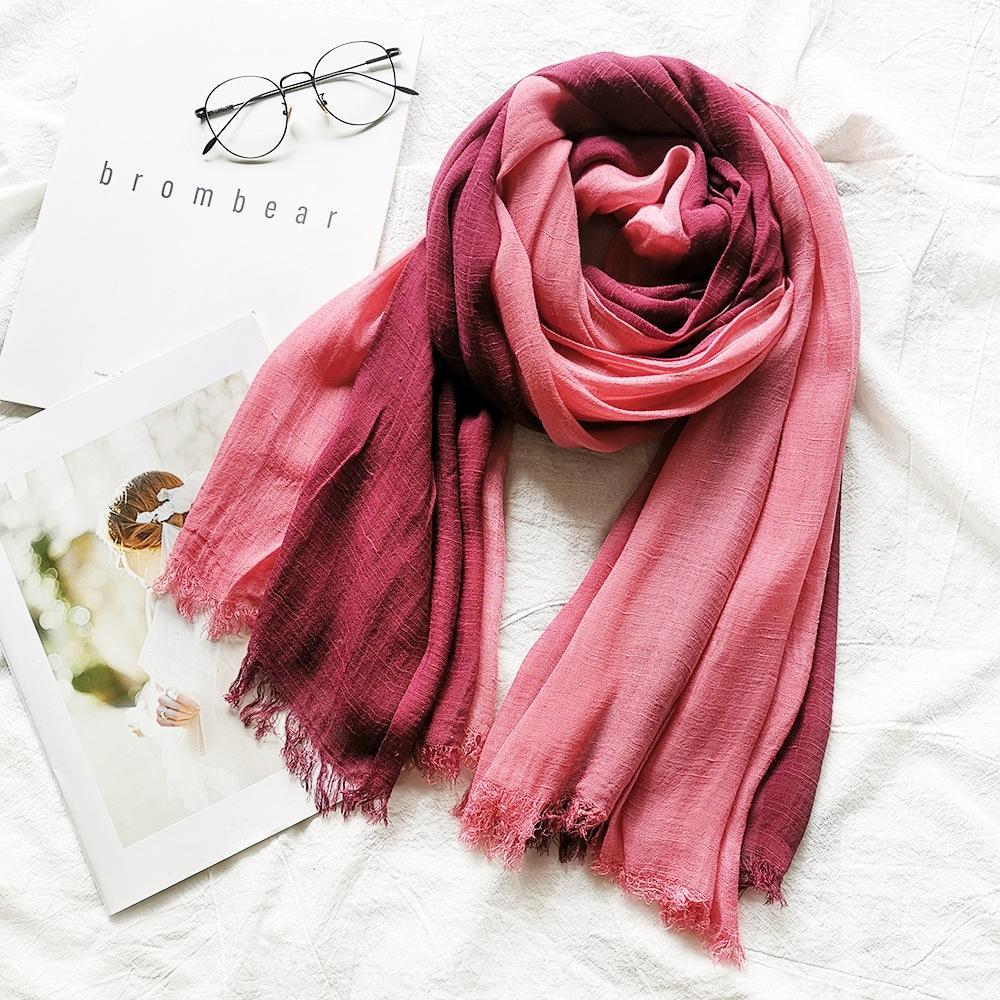 Cotton linen silk women's gradient color matching Japanese and Korean Cotton linen scarf Shawl scarf Lady Mori girl bamboo yarn shawl