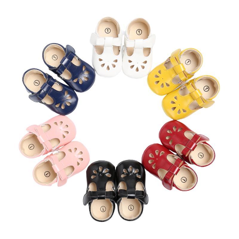 Zapatos de los bebés del verano ahueca hacia fuera los primeros caminante antideslizante Mary Jane Pisos con Bowknot del bautismo de los niños de la princesa zapatos de vestir