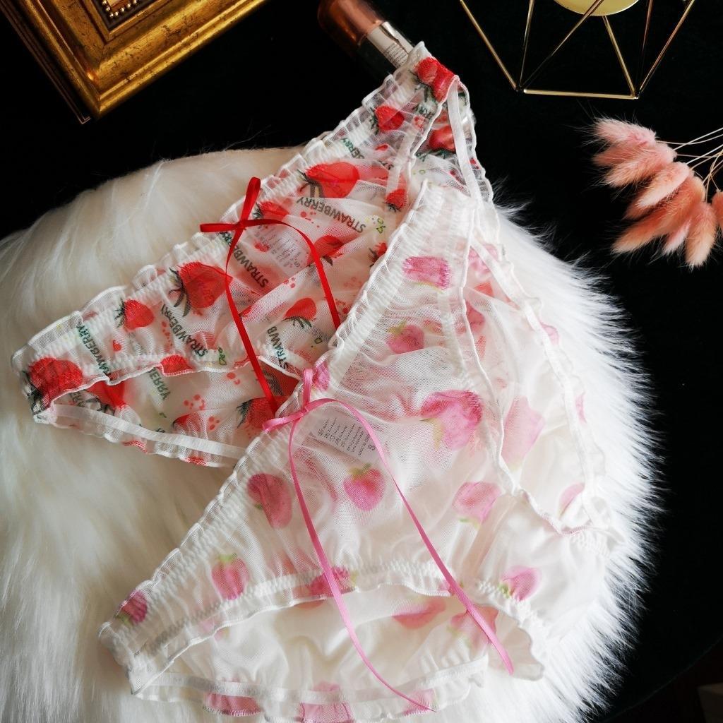 Nouvelle fille douce fraise imprimé femmes de dentelle sous-vêtements Strawberry belle célébrité Web sous-vêtements mignons