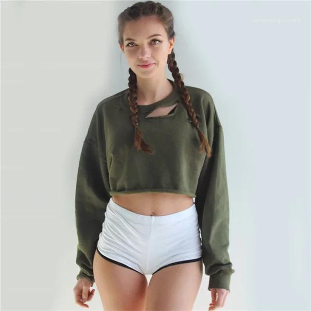 Sweats à capuche couleur solides manches longues court Ladies Crop Top O-cou Casual femme Sweats overs Trous en vrac Femmes