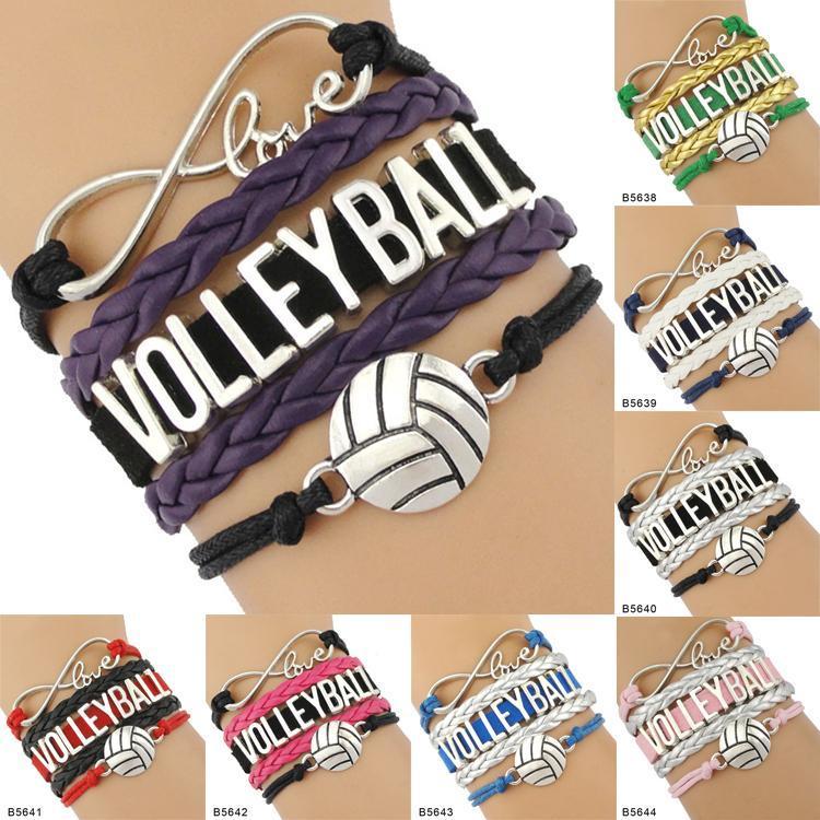 9 Arten Volleyball Armbänder Leder und Wildleder Brief Armbänder Liebe I Heart Volleyball Besondere Schmucksachen für Frauen Männer Day Geschenk Schmuck