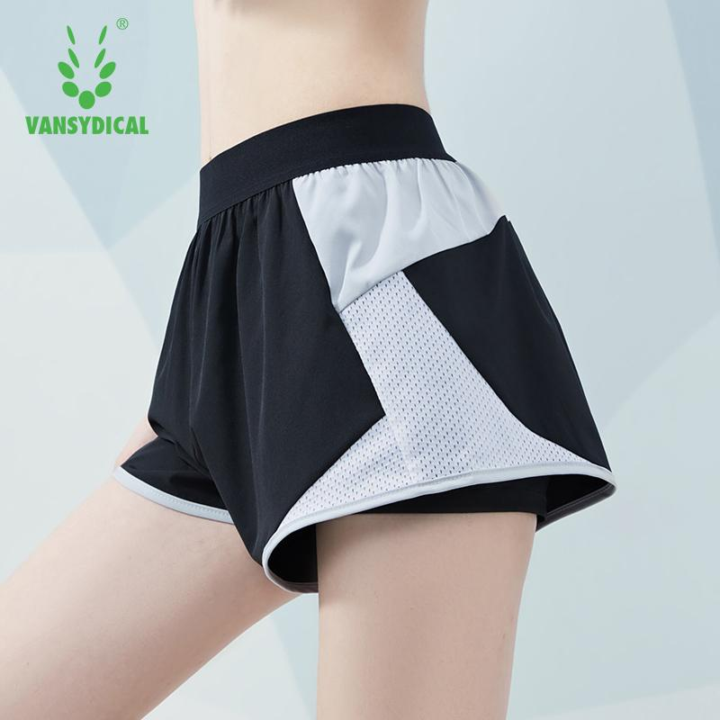 VANSYDICAL 2 en 1 Summer Sport Shorts Femmes Mesh Patchwork Gym Workout Skinny Yoga court séchage rapide Fitness jogging court pantalon
