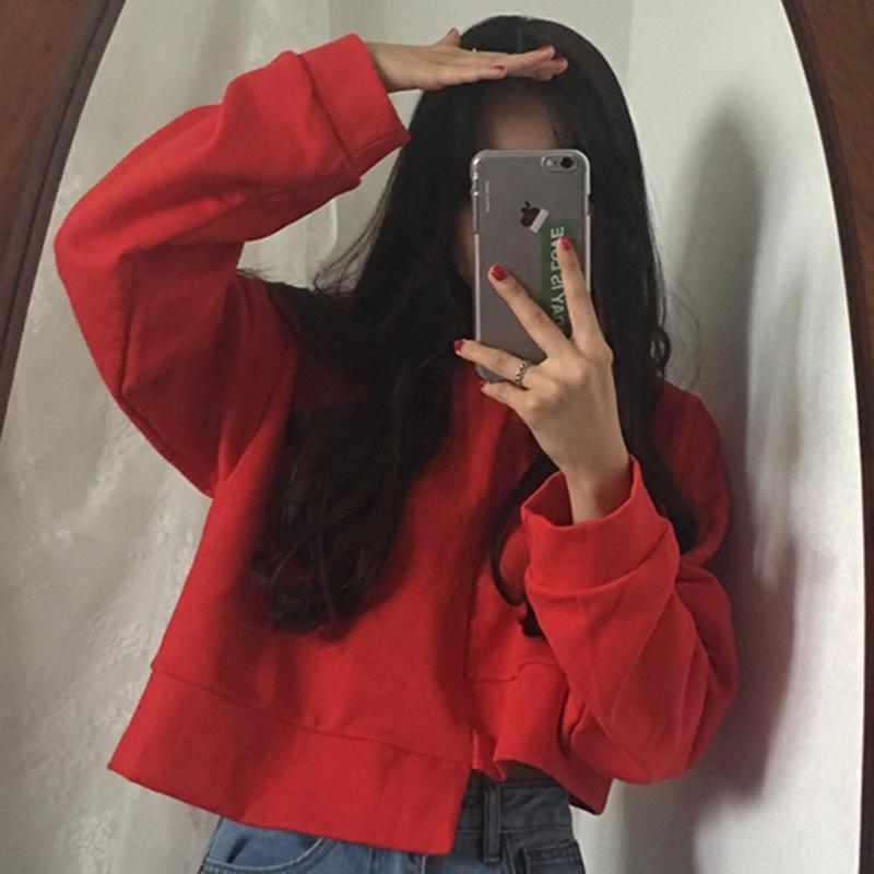 wmSCA Mulheres de 2020 camisola chique novo estilo Harajuku curto umbigo pullover engrossado pulôver sweaterTop Sweaterlong manga superior camisola para wom