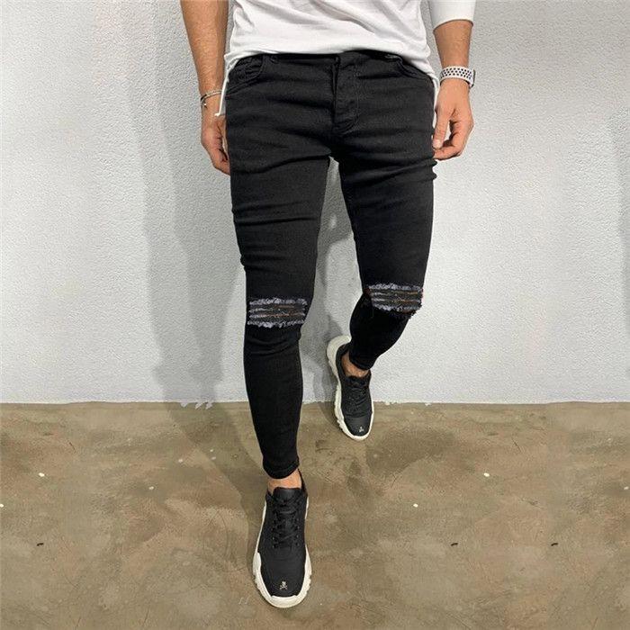 Hommes Trou noir Pancil Jeans Hommes Printemps Automne Lumière Washed taille haute Demin Pantalon homme Hip Hop Pantalons Slim