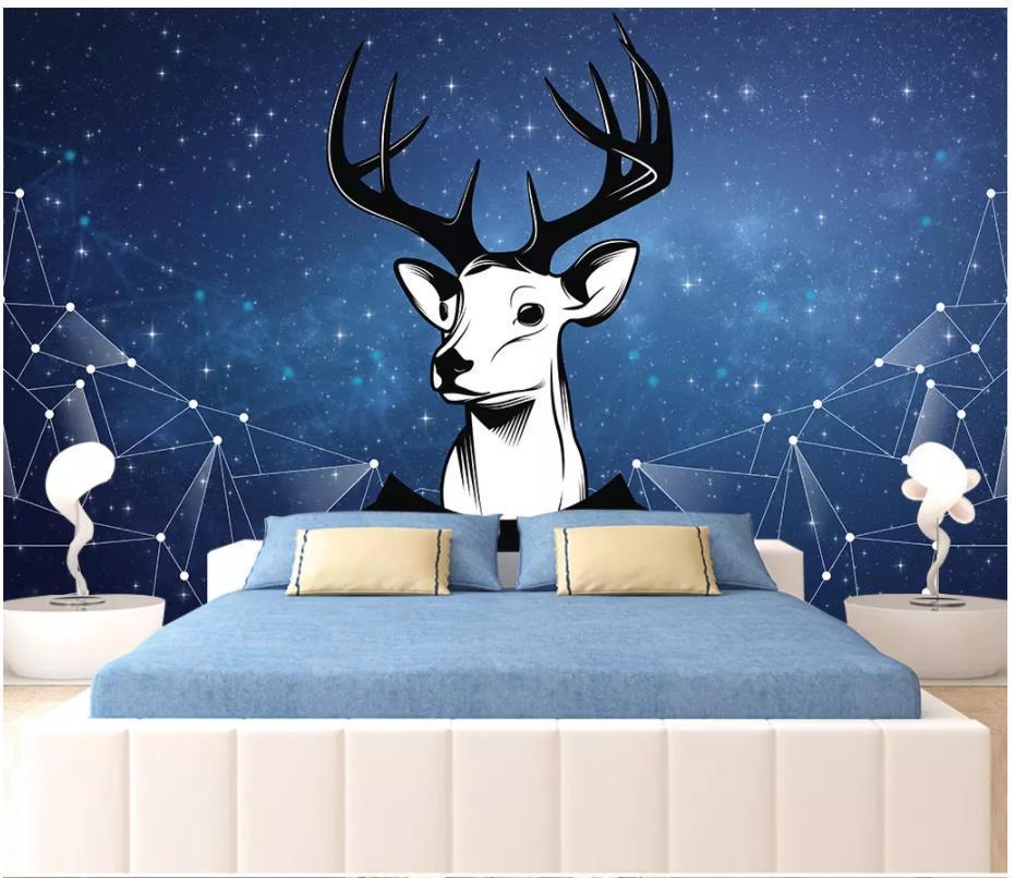 3D-Tapete benutzerdefiniertes Foto Silk Nordic minimalistische Mode schwarzer und weißer geometrischer Hirsch nostalgische Hintergrund Tapete Tapete Kopf