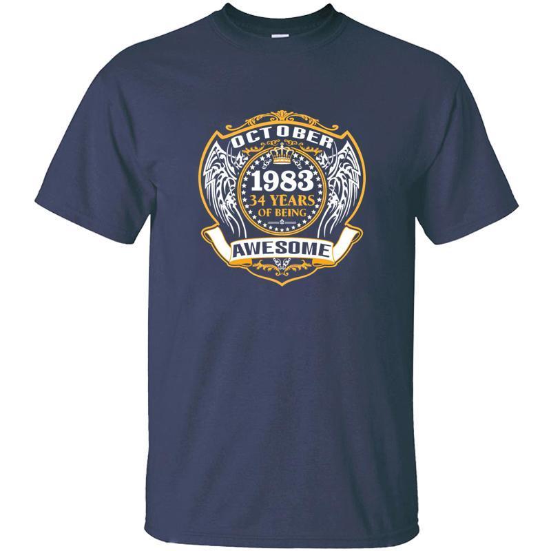 Personalizados 1983 34 años de ser impresionante octubre camiseta para el Mens 100% algodón impresionante adulto Camisetas 2019 Camiseta T-Top
