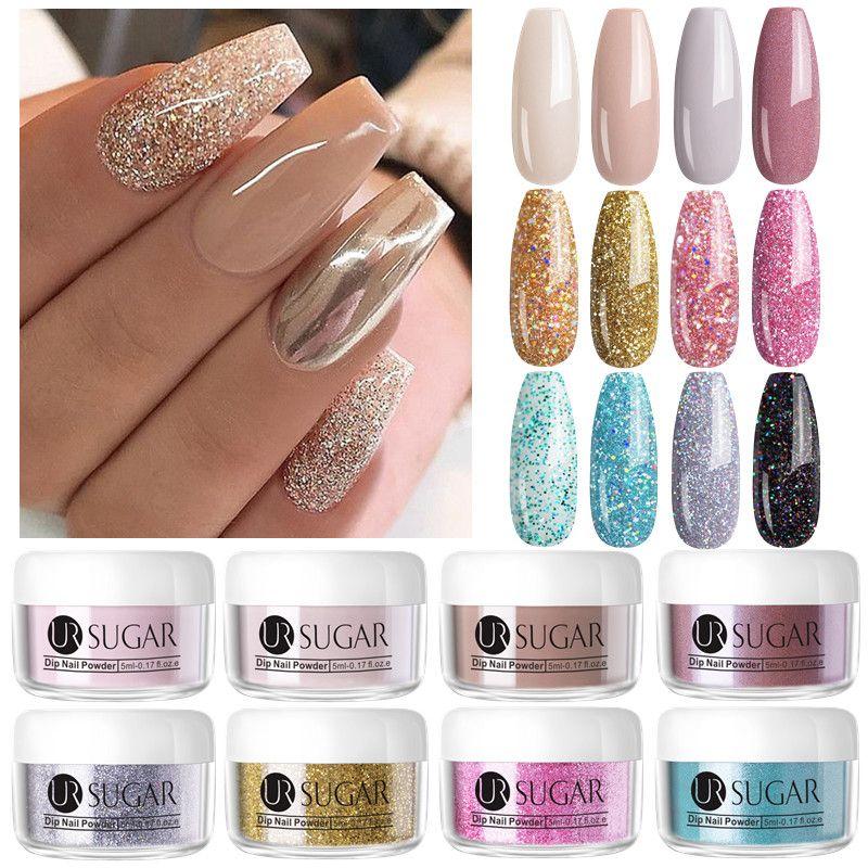 UR AZUCAR 5 ml de uñas inmersión polvo del brillo Dip grandient polvo clavos para las manicuras de uñas del gel Chrome Pigmento