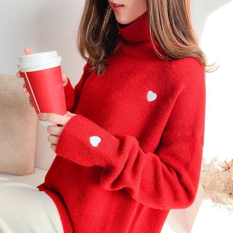 2020 Turtleneck Pullover Mulheres da camisola do inverno coreano Casual coração bordado malha grossas Camisolas