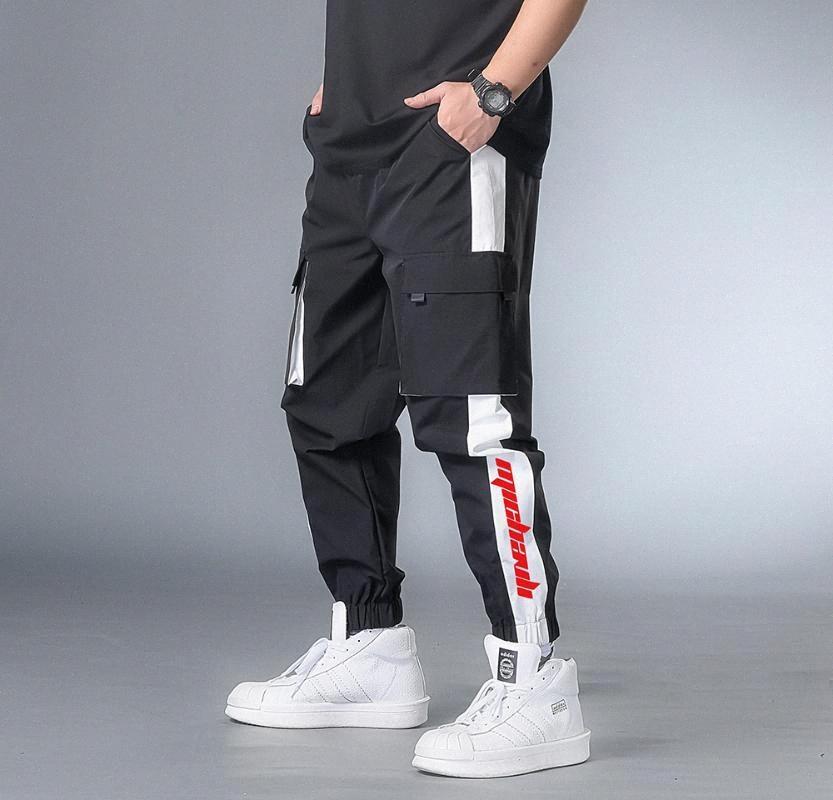 7XL-XXXXL 2020 hommes multi-poches taille élastique design Harem Pantalon rue Punk Hip Hop Red Pantalons Casual Male Joggings Cargo hQio #