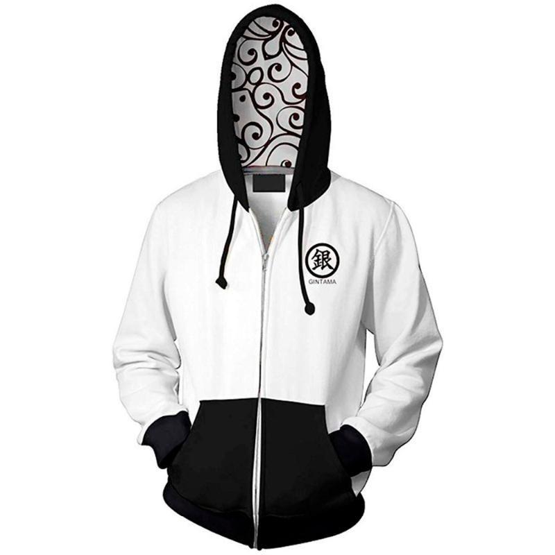Nuovo Anime Gintama Sakata Gintoki Cosplay Zipper Hoodies degli uomini 3D Stampato Jacket Felpa 2020 Moda Streatwear Hoodie inverno
