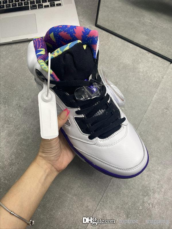 Hot Air Top autentica 5 Alternate Bel-Air scarpe da basket 5S Bianco Retro Sneakers Corte Viola-Racer Pink-fantasma Shoes Green Men Sport