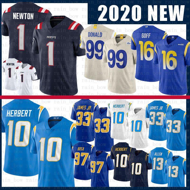 1 Cam Newton 99 Aaron Donald Justin Herbert Derwin James JR Fußball-Jersey-New Jared Goff Keenan Alle Joey Bosa EnglandPatriot Reagor