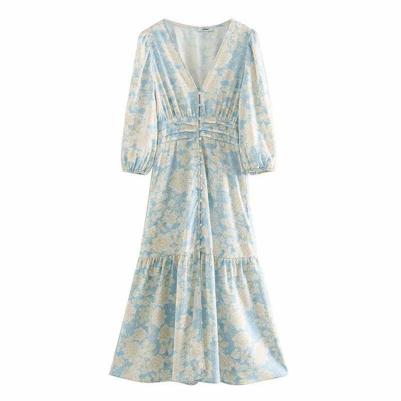 manga de las mujeres elegantes v linterna cuello impresión de las señoras del vestido midi delgados ocasionales vestidos elásticos elegantes vestidos de estilo de vacaciones DS3456