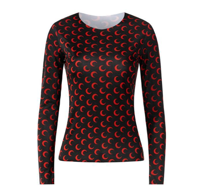 Nuovo che basa il T shirt manica Loog alta qualità delle donne Vendita calda Mezza luna Collant T superiori Girl T shi