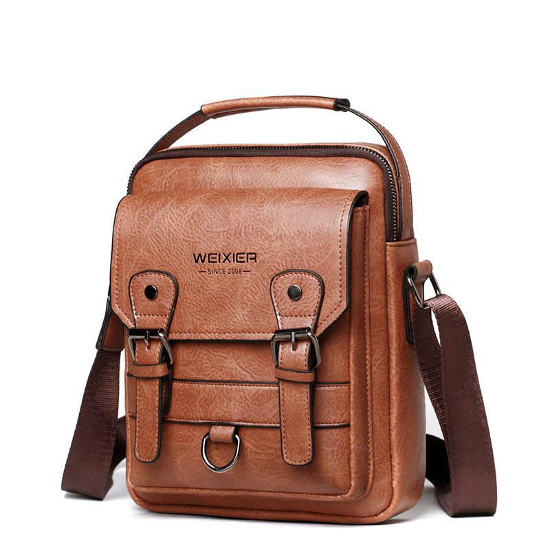الرجعية بو الجلود حقيبة يد أكياس طالب حقيبة واحدة الكتف حقيبة الذكور رسول حقائب سعة كبيرة حقيبة حزمة قصيرة حزمة
