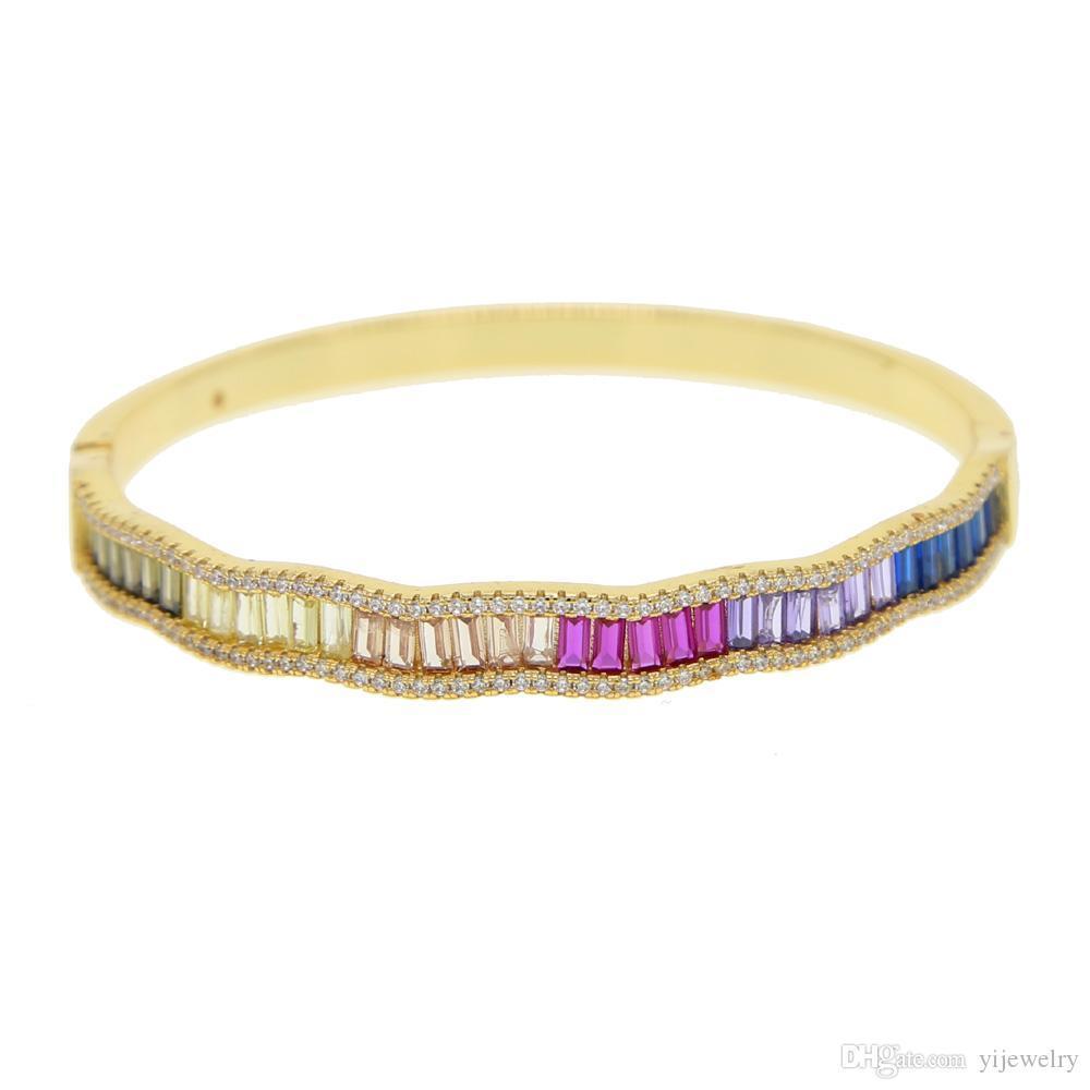 arco iris cz chapada en oro brazalete de las mujeres de moda de joyería de moda micro baguette Pave CZ colorido arco iris de alta calidad de la joyería de lujo