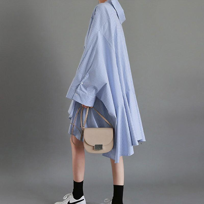 Superaen 2020 Printemps Nouveau Coton Femme Chemise Pluz Taille Taille Strosted Coton Dimensionnable Dormeurs Chemise Chemise À manches longues Femmes Vêtements