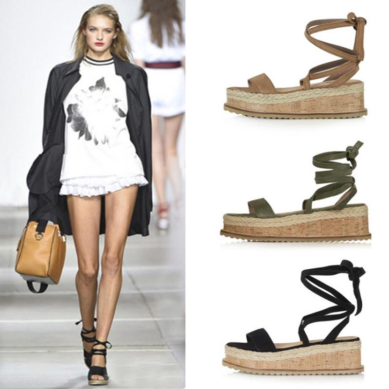 Estate Wedge Espadrillas donna Open Toe Roma scarpe gladiatore signore casuali Lace Up femminile Platform Sandals CX200715