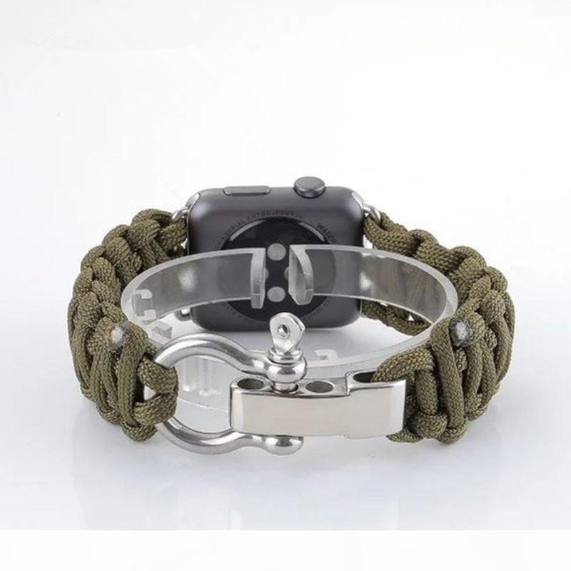 Elma İzle iWatch 1 2 3 38mm 42mm Askeri Taktik Paraşüt Kordon Survival Bant Kayış Dış Mekan için Dokuma Naylon Halat Watchband