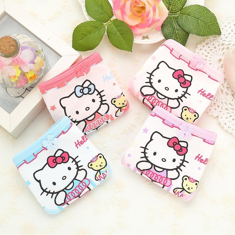 QVk0h escritos de las muchachas de la nueva ropa interior de algodón de los niños Tong Tong ku nei nei ku calzoncillos calzoncillos cortocircuitos del bebé triangl oso de algodón de los niños