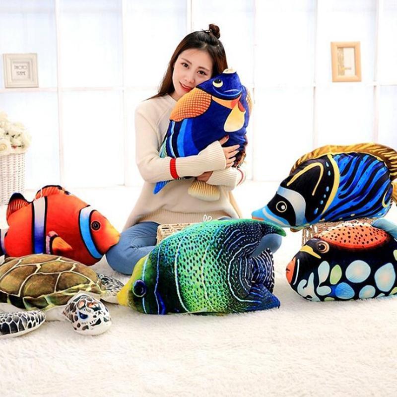 السمك الحيوان القطيفة حيوانات محشوة الطفل الإدراك محشوة البحر لعب السلاحف الاستوائية الاطفال عناق وسادة هدية 45-65cm TZP015 MX200716