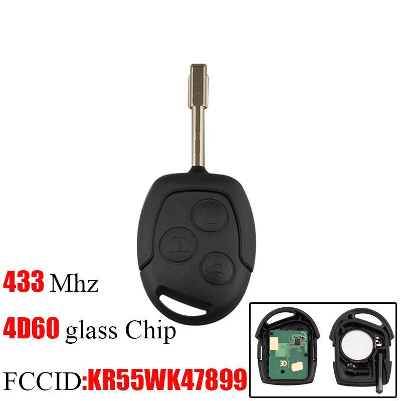 3 Botões de substituição remoto Car Key Fob Transponder Chip 4D60 433Mhz Para Ford Mondeo Foco Transit completa chave completa