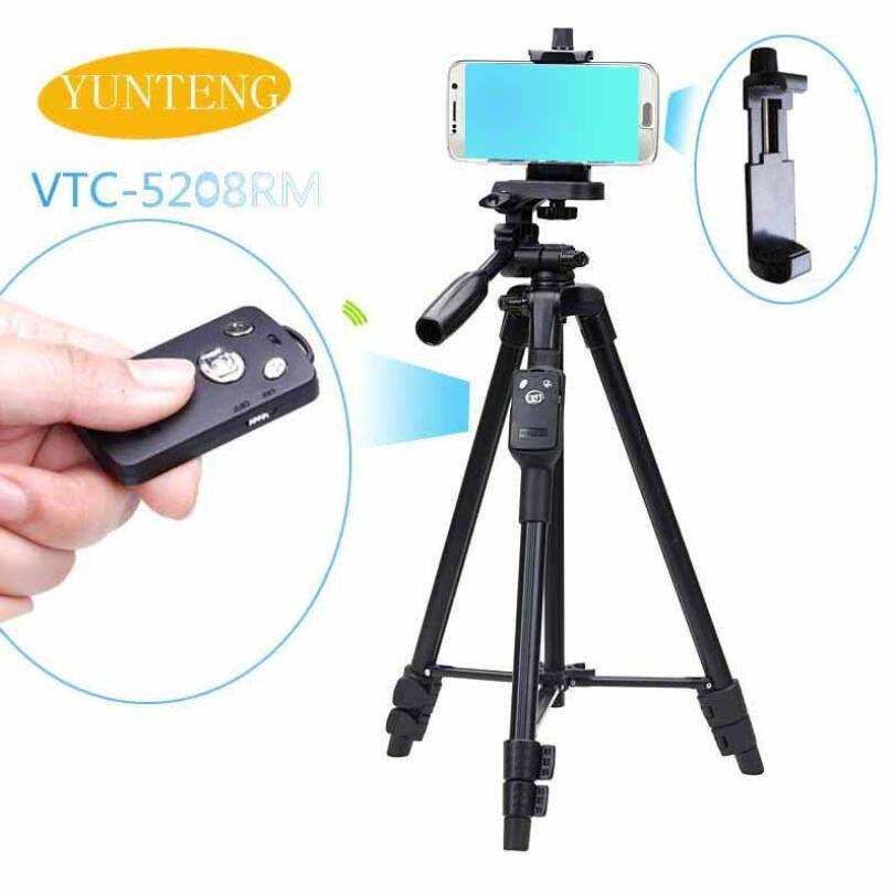 Selfie Video Yunteng VCT 5208 RM алюминиевый штатив с 3-сторонней головкой Bluetooth Relat для камеры держатель телефона