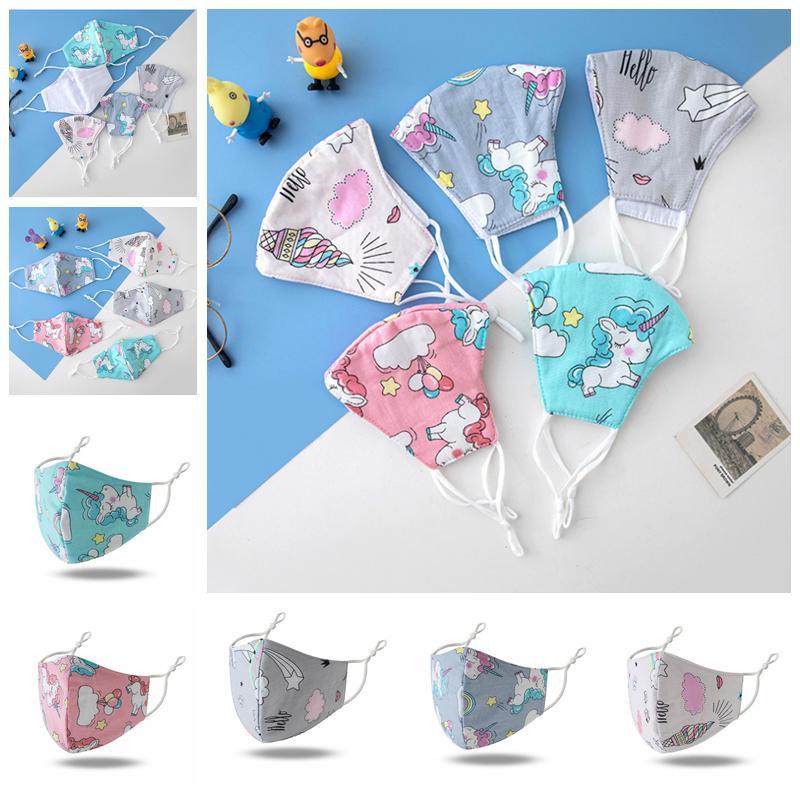 Arcobaleno Unicorn 3D Bambini maschera di protezione regolabile maschera protettiva riutilizzabile Bocca antipolvere maschere per il viso traspirante YYA179
