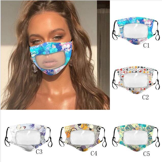 25style Transparente Máscara Lip PVC flroal Imprimir Máscara protectora anti-nevoeiro Escudo Deaf Mute Máscaras Designer Visível Anti Poeira cobrir a boca GGA3584-12