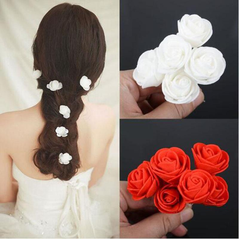 Wholesale 6pcs/Lot Women Beauty Small White Red Rose Flower Hair Pins Wedding Bridal Flowers Accessories Jewelry