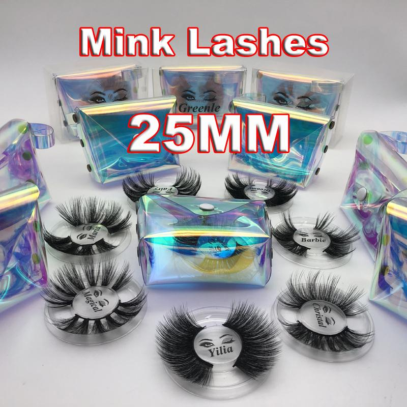 Hot 25MM 3D Mink Wimpern Lange Dramatic 100% Mink Wimpern Makeup 5d Mink Wimpern dick lange falsche Wimpern Wimpernverlängerung