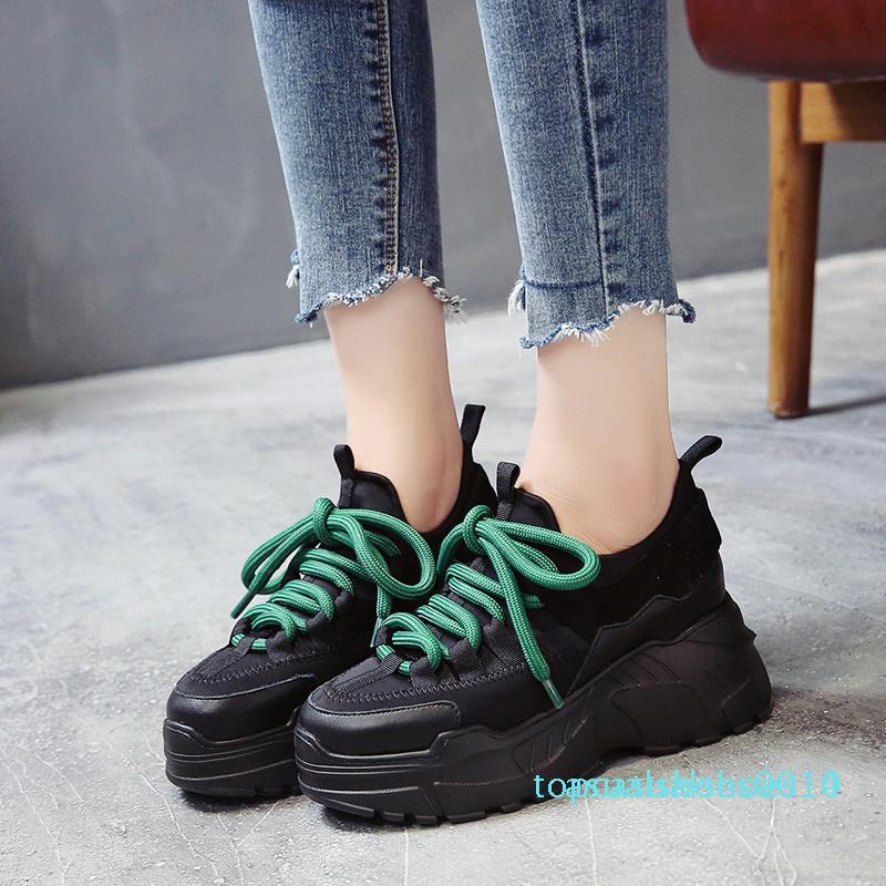 Plate-forme Hiver Chaussures Femmes Chaussures hauteur croissante Chunky Flats Chaussures Femme Automne Femme Wedge Chaussures Sapato Feminino Chaussures C14
