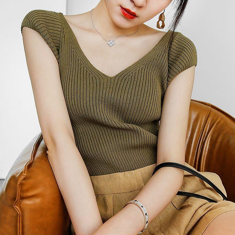 iDyVa elastischen koreanischen Stil schlanke sandwashed Baumwolle Kurzarm-tiefen V-Ausschnitt Strickwaren hohe Bp1RN Nicht-Deformation 2020 koreanische Sommer slim-fit s