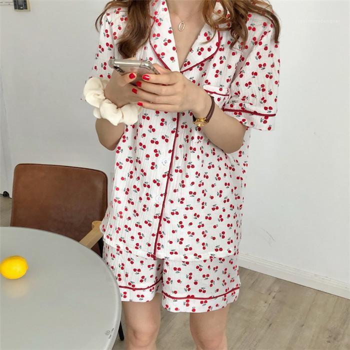 Mujeres lindas ropa interior de moda para mujer de cereza 2pcs del verano Domicilio solapa de la mujer del cuello del bolsillo camisetas Con cortos