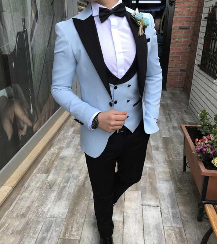 Erkek Takım Elbise Blazers Gökyüzü Mavi Erkekler Smokin 3 Parça Custom Made Terno Slim Fit Damat Düğün Erkek Takım Elbise Masculino Ceket + Pantolon + Yelek