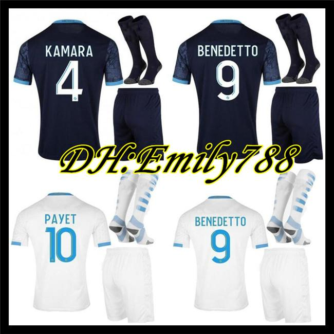 Men kit+socks 2020 2021 Olympique De Marseille Maillot OM Soccer Jersey 2021 Maillot De Foot 20 21 PAYET BENEDETTO KAMARA Football Shirt
