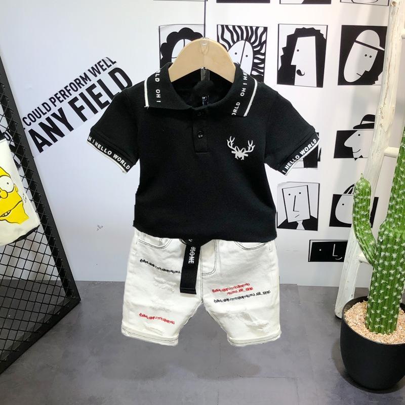 Мальчик с коротким рукавом T- 2019 летом нового детских рубашек поло Корейского стиль модной футболкой для детей