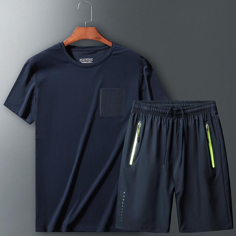 Спортивный костюм мужских бегущие быстросохнущие одежд потерять случайные спортивные Мужской Фитнес короткого рукав жира спортивного размера размера размера костюма